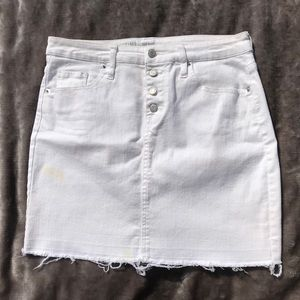High Waisted Raw Cut White Jean Mini Skirt 8/29